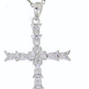 Solid Natural Diamond 14K White Gold Cross Pendant